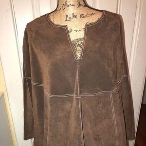 Jackets & Blazers - Chocolate brown suede poncho size XL